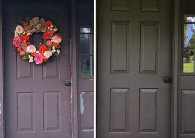 Carrie's Creations Interior Painters | Charlotte, NC | Front door before and after