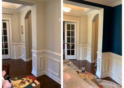 Carrie's Creations Interior Painters | Charlotte, NC | Dining Room Interior Painting before and after, accent wall color