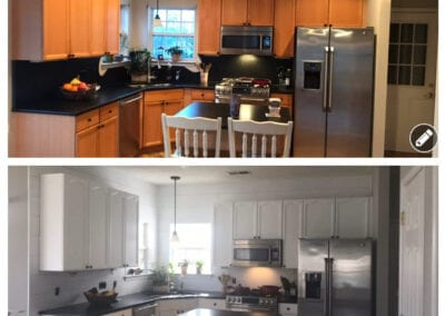Carrie's Creations Interior Painters | Charlotte, NC | Painted Kitchen before and after